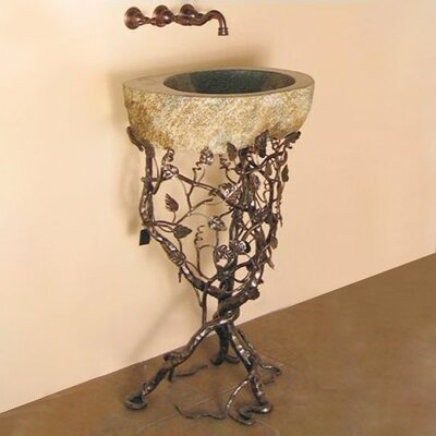 Quiescence Aspen Trail Boulder Pedestal Bathroom Sink