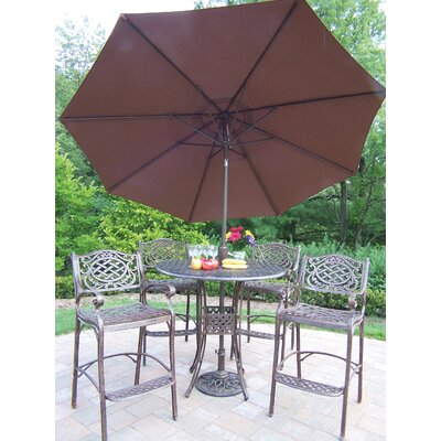 Oakland Living Elite Mississippi 5 Piece Bar Height Dining Set with Umbrella