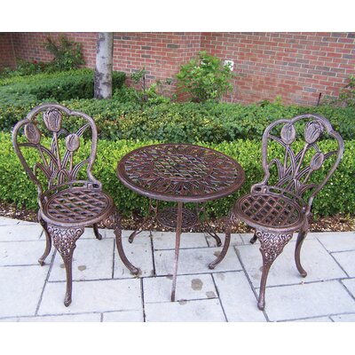 Oakland Living Tulip 3 Piece Bistro Set