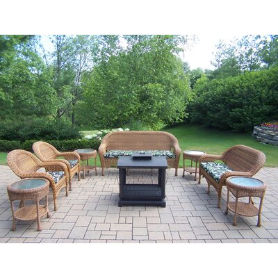 Oakland Living Resin Wicker 9 Piece Lounge Seating Group