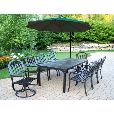 Oakland Living Rochester 9 Piece Swivel Dining Set