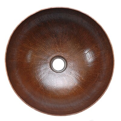Premier Copper Products Small Round Hammered Copper Vessel Sink in Oil Rubbed Bronze