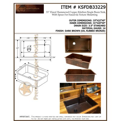 "Premier Copper Products 33"" x 22"" Hammered Single Basin Kitchen Sink with Faucet with ORB Pull Down Faucet, Drain and Accessories"