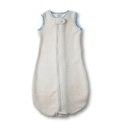 Swaddle Designs Organic zzZipMe Sack in Natural with Pastel Blue Trim