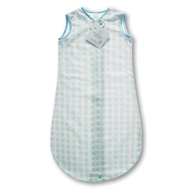 Swaddle Designs Certified Organic Cotton Flannel zzZipMe Sack in Pastel Blue with Dots and Stars