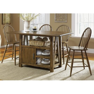 Liberty Furniture Farmhouse Casual Dining Centre Island Pub Table in Weathered Oak