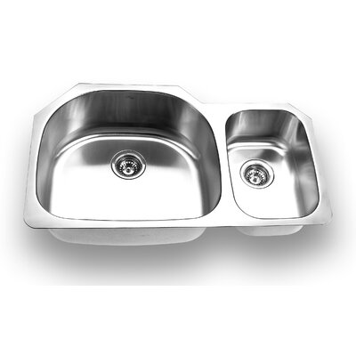 "Yosemite Home Decor 35.25"" x 20.875"" Stainless Steel Undermount Double Bowl Kitchen Sink"