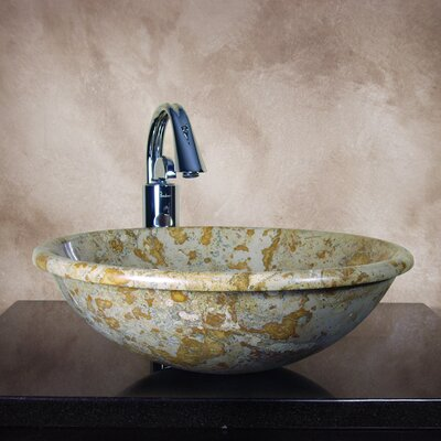 Alisha Hand Carved Round Vessel Bathroom Sink - ALISHA