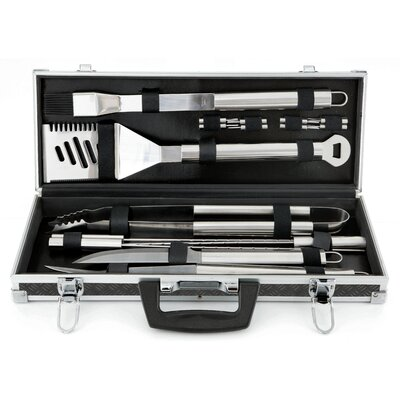 Mr. Bar-B-Q Tool Set in Black Aluminum Tire Track Case (Set of 18)