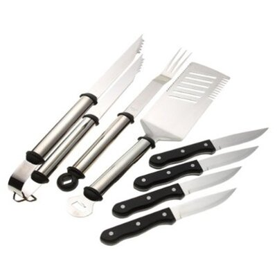 7 Piece Premium Oval Handle Stainless Steel Grilling Tool Set