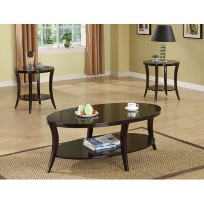 Welton Raford 3 Piece Transitional Occasional Table Set in Espresso