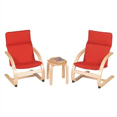Guidecraft Red Rocker 3 Piece Kiddie Chair Set