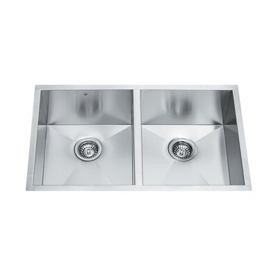 Equal Double Bowl Zero Radius 16 Gauge Stainless Steel Undermount Kitchen Sink