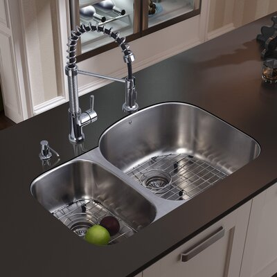Vigo Double Bowl Stainless Steel Undermount Kitchen Sink and Faucet Set