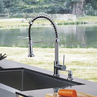 One Handle Single Hole Pull Out Spray Bar Faucet with Soap Dispenser