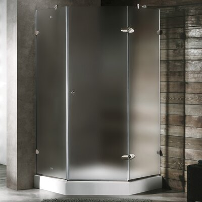 Vigo Neo-Angle Door Frameless Shower Enclosure with Base & Knob Handles