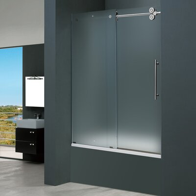 Vigo Frameless Sliding Tub Frosted Right Side Tub Door