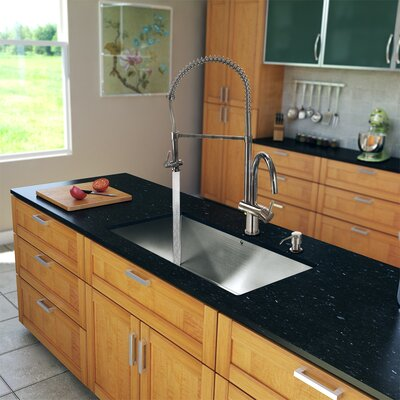 "Vigo All in One 32"" x 19"" Undermount Kitchen Sink and 18"" Faucet Set"