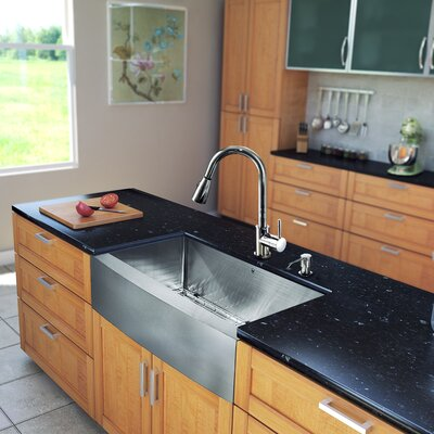 "Vigo All in One 33"" x 22.25"" Farmhouse Kitchen Sink with Faucet Set"