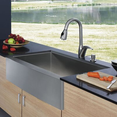"Vigo 33"" x 22.25"" Farmhouse 16 Gauge Single Bowl Kitchen Sink with Faucet and Soap Dispenser"