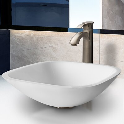 Vigo Phoenix Square Stone Glass Vessel Sink with Faucet