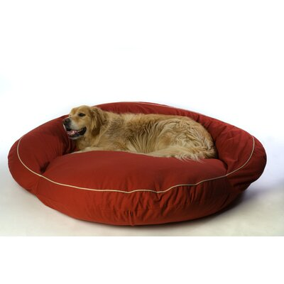 Everest Pet Classic Twill Bolster Dog Bed in Barn Red with Khaki Cording