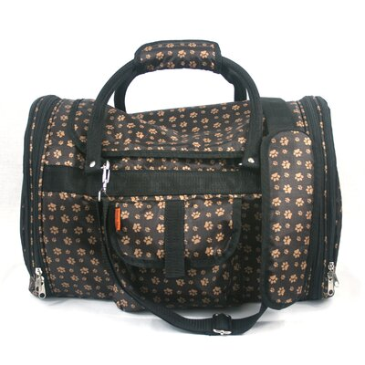 Covered Pet Carrier in Paw Print Brown