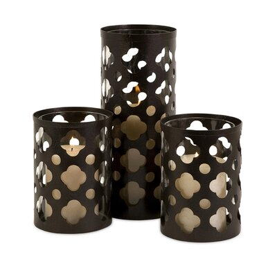 IMAX Norte Cutwork Wrought Iron and Glass Votives (Set of 3)
