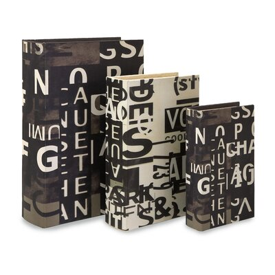 IMAX Text Collage Book Box in Black and White (Set of 3)