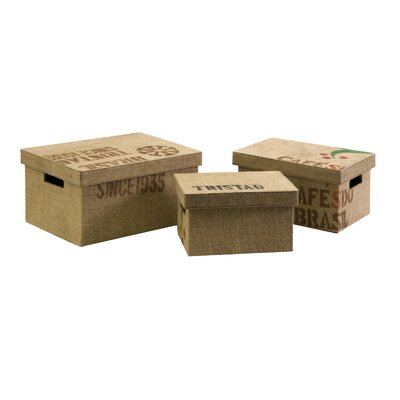 Wildon Home ® Tavin Jute Fabric Boxes (Set of 3)