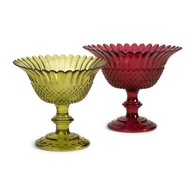 IMAX Larson Glass Pedestal Dish (Set of 2)