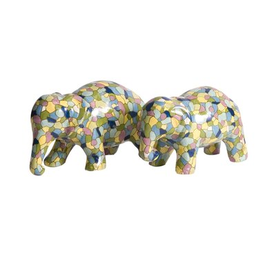 IMAX IK Gervaiso Hand Painted Elephants Statue (Set of 2)