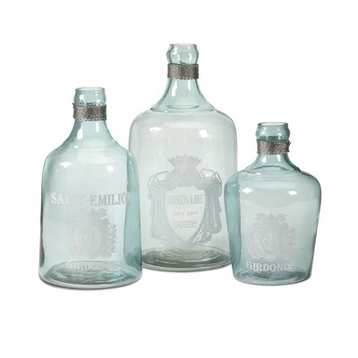 Karry Green Glass Bottle (Set of 3)