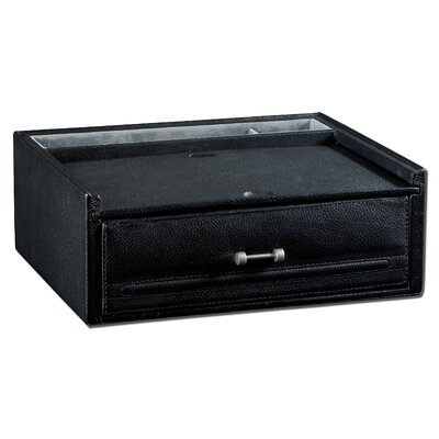 Valet / Watch Box in Genuine Black Leather