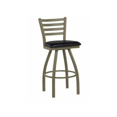 Steel Ladder Back Swivel Stool - Upholstered Seat