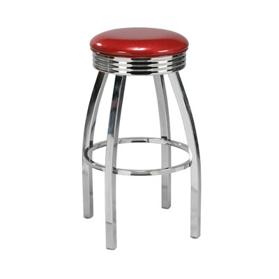"Regal Steel 30"" Backless Retro Metal Swivel Barstool"