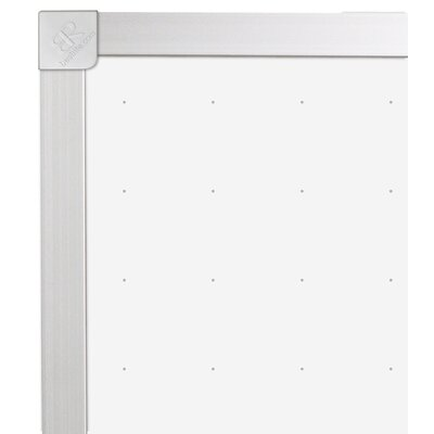 "CommClad 24"" x 36"" Thermal-Fused Melamine Dot Grid Whiteboard with Aluminum Trim"
