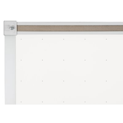 "CommClad 48"" x 96"" Thermal-Fused Melamine Dot Grid Whiteboard with Aluminum Trim and Map Rail"