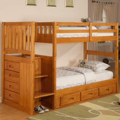 ... World Furniture Weston Twin over Twin Staircase Bunk Bed with Storage