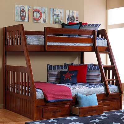 Discovery World Furniture Weston Twin over Full Bunk Bed with Built-In Ladder and Storage