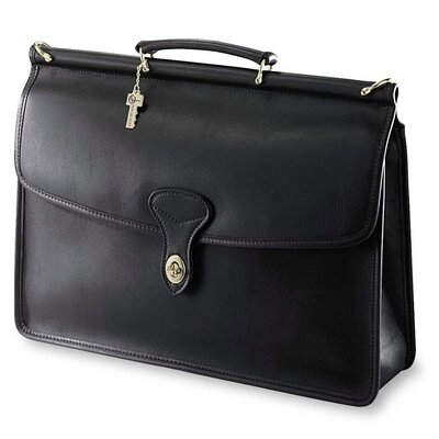 Jack Georges University Single Gusset Flap Over Briefcase with Turnlock