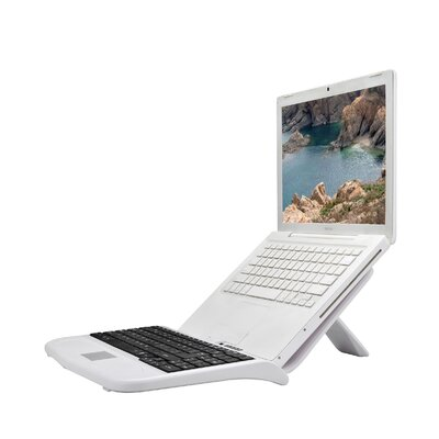 Sharper Image Laptop Stand with Built-In Keyboard in White