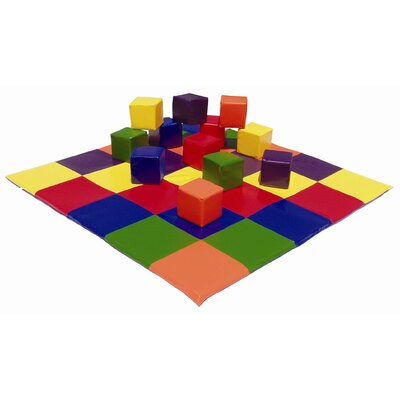 ECR4kids Patchwork Mat & Toddler Blocks Set in Primary Colors
