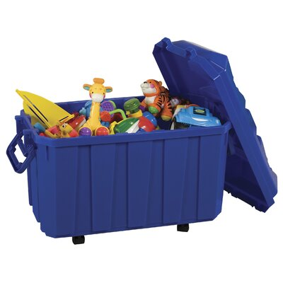 ECR4kids 4 Pack of 18 Gallon Stor-N-Roll Toy Trunks with Casters
