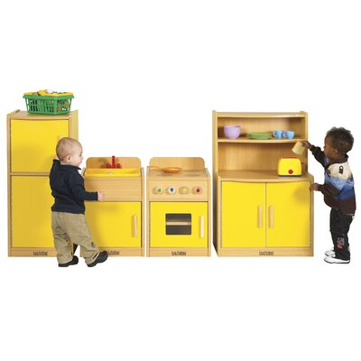 ECR4kids Colorful Essentials Four Piece Play Kitchen