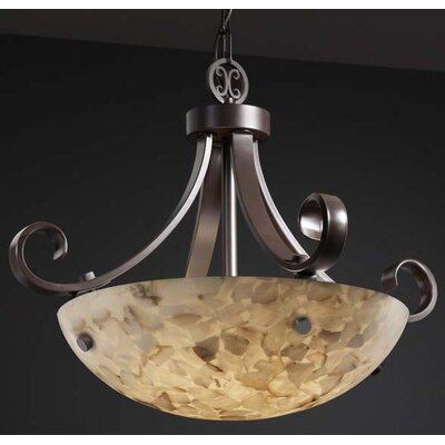 Justice Design Group Alabaster Rocks 3 Light Inverted Pendant Bowl Scrolls with Finials