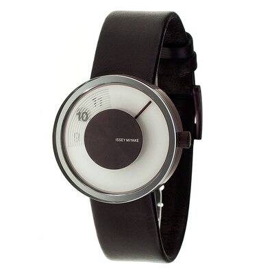 Issey Miyake Vue Yves Behar Watch with Brown Leather Band