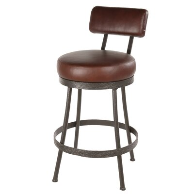 "Stone County Ironworks Cedarvale 25"" Swivel Counter Height Barstool with Pecan Seat"