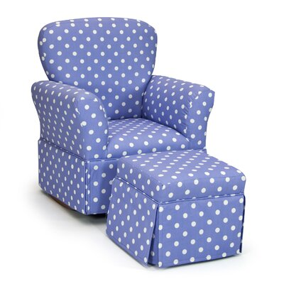 Kidz World Polka Dot Kelso Maggie Skirted Kid's Rocking Chair and Ottoman Set