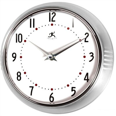 Retro Round Metal Wall Clock In Silver